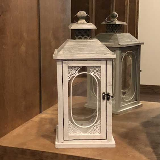 Metal Lantern - Beige & Glass
