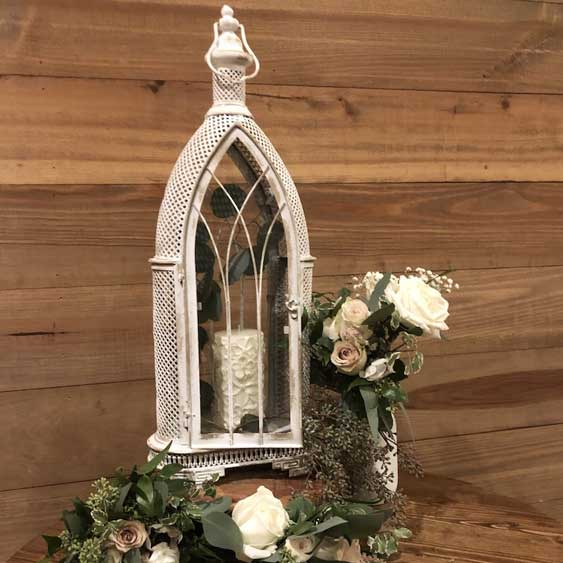 White Arched Metal Lantern
