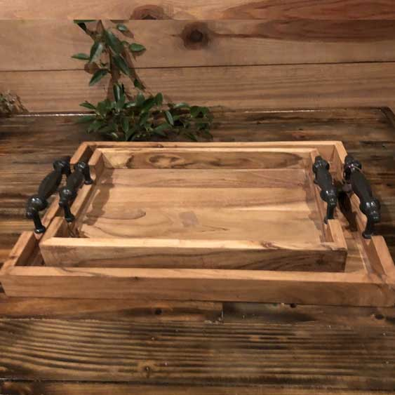 Wood Tray Set (2)