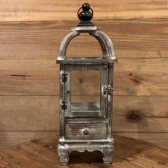 Whitewash Wood Lantern w/ Drawer