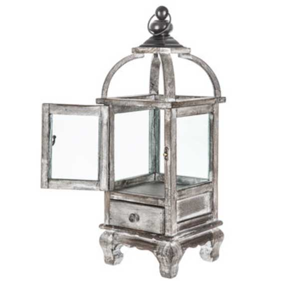Whitewash Wood Lantern w/ Drawer